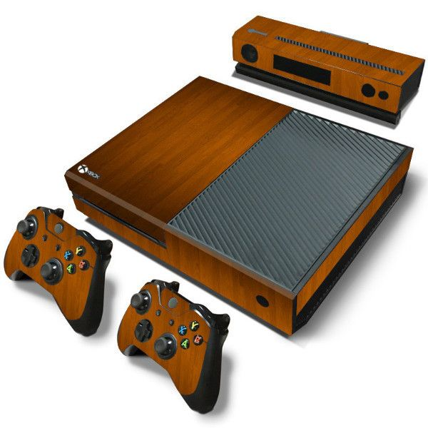 Custom for Microsoft XBOX One console Wood Grain Vinyl Sticker Decal + 2 Controller Skins sticker for x box one console