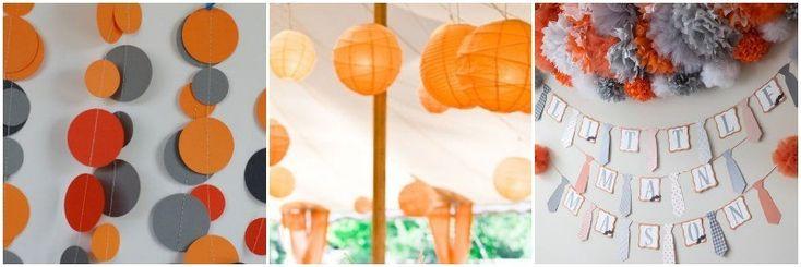 Guirnaldas y pompones para Baby Shower naranja y gris