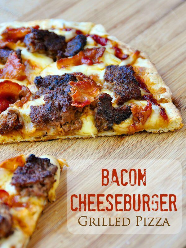 Grilled Bacon Cheeseburger Pizza - the great flavour of a BBQ burger in pizza form, all cooked on the backyard grill. It uses homemade Coca Cola Barbecue Sauce for added flavour too!