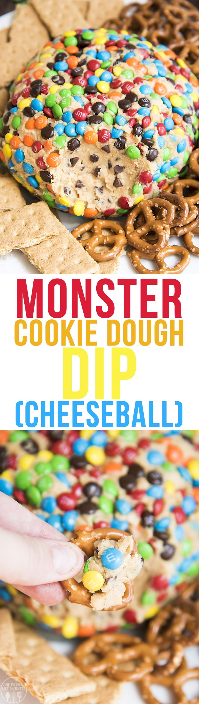 This monster cookie dough cheeseball is a delicious peanut butter dessert dip with the same great taste of monster cookies. Perfect served with pretzels, graham crackers, and other cookies!