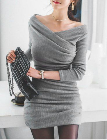 Stylish V-Neck Long Sleeve Ruched Sweater Dress For Women Sweater Dresses | RoseGal.com Mobile