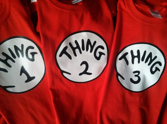 Thing one Dr Seuss t shirts, ADULT YOUTH TODDLER INFANT TS ONESIES 100% cotton RED t shirt all sizes MOM of & DAD of Thing 1 2 3 4 etc. at our store.