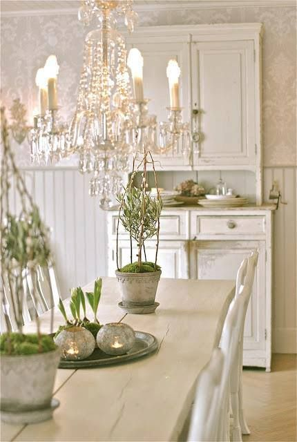 Shabby White Farmhouse Cottage Dining Room - Rustic Elegance - Fab Chandelier! (images we like, not products of Chichi)