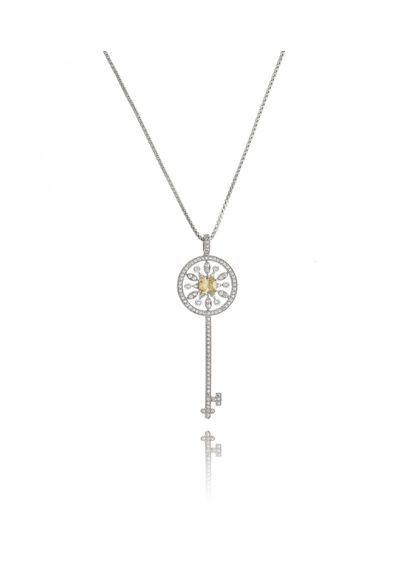 539ac21a9c084 Colar-chave-tiffany-prata-pedras-amarelas-grande-corrente-longa-semi-joias    Colares Semi joias   Pinterest