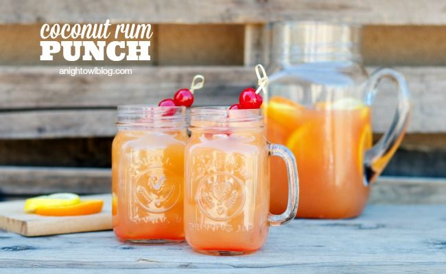 Coconut Rum Punch - a delicious combination of tropical flavors and coconut rum to make one tasty party drink!