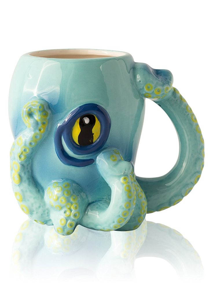 Ceramic Blue Octopus Coffee Mug w/ Tentacle Handle by Comfify - Octopus w/ 8 Squirmy 3D Tentacles & Big Eye - Perfect Coffee Gift for Gamers, Cthulhu Fans and Steampunk Enthusiasts - 12 oz.