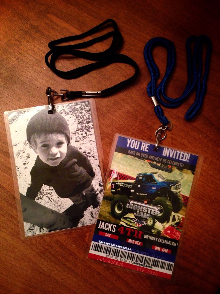 Monster Jam Invitations/Pit Passes.  Design by Precious Cargo Creations www.facebook.com/PreciousCargoCreations