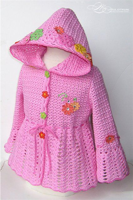 Girls Hooded Jacket free crochet graph pattern