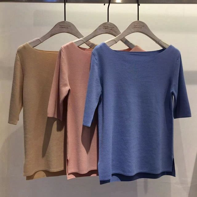 2016 spring and summer elegant ice silk large-neck T-shirt US $50.00 /piece Specifics Item Type 	Tops Tops Type 	Tees Gender 	Women Decoration 	None Clothing Length 	Regular Sleeve Style 	Regular Pattern Type 	Solid Brand Name 	NEW Style 	Fashion Fabric Type 	Knitted Material 	Silk Collar 	Slash neck Sleeve Length 	Half Model Number 	T13206 Component content 	51% ( bearing ) - 70% ( bearing )  Click to Buy :http://goo.gl/t9O329