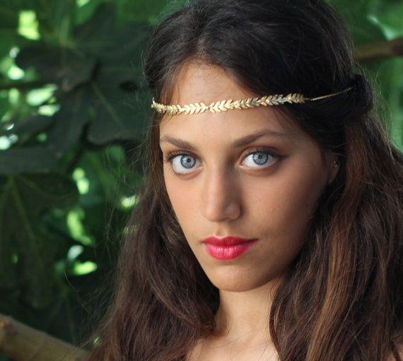 Jaime Wreath #2, dauerhafte Haar Kette, romantische Tiara, goldene Blätter Halo, Fairy Krone, rustikale Woodland, Stirn Band, Braut Haar Accessorie