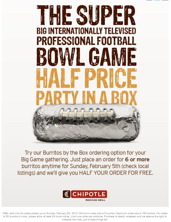 Buy 3 get 3 free on burritos Sunday at Chipotle
