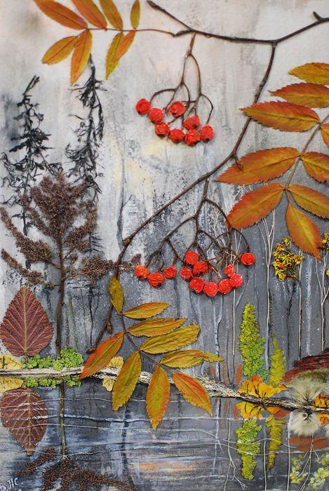 Ветка рябины, флористический коллаж в технике декалькомания, 2012 г. (природный материал, гуашь, акрил)