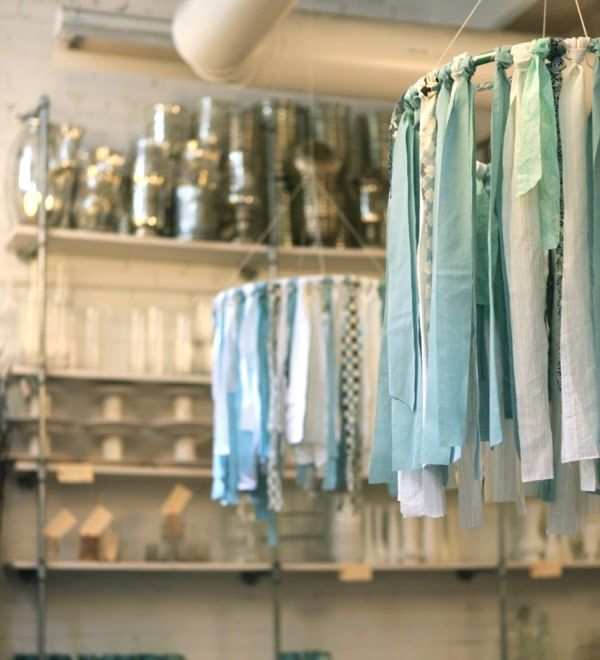 DIY Hula Hoop Fabric Ribbon Chandelier