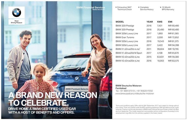 Bmw Car A Brand New Reason To Celebrate Ad Delhi Times 1 09 2017 Certified Used Cars Bmw Bmw Car