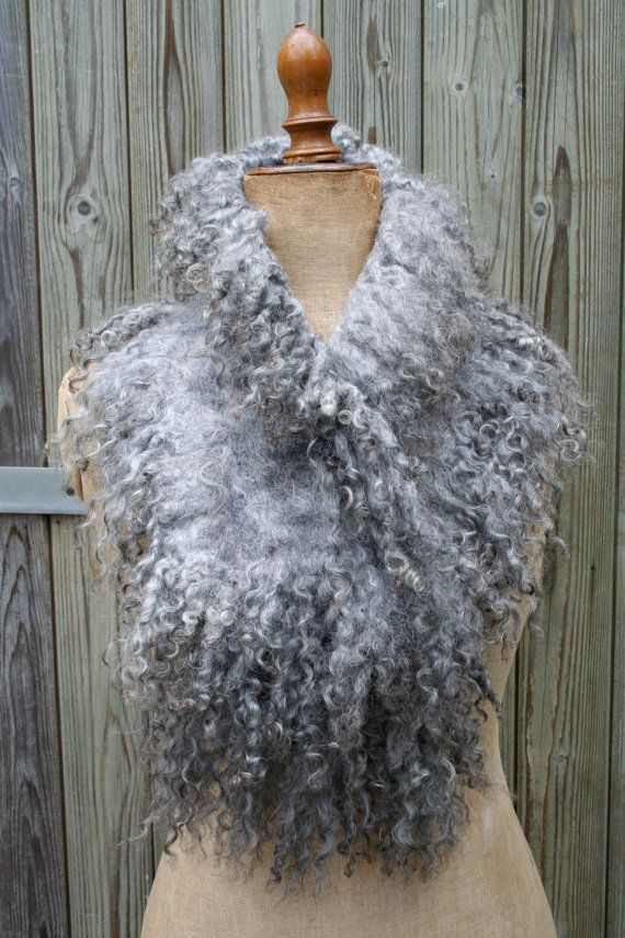 Nunofelted scarf - natural Gotland curly wool locks - handmade Faux Fur