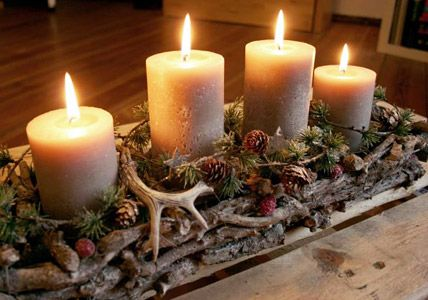 Längliches Gesteck Advent arrangement