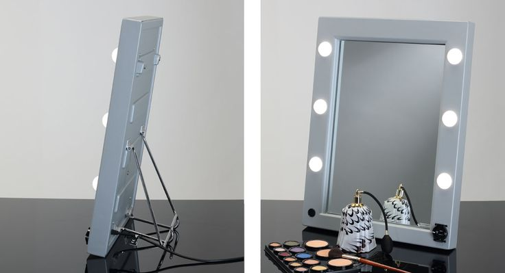 MW01.TSK PORTABLE MIRROR WITH BAG. Makeup Vanity Mirrors. Cantoni for makeup artists, makeup schools, and professionals. Extremely versatile, is equipped with the patented  I-Light system technology Cantoni, to grant a high-quality light performance. Professional Lighting system with 6 spots light, frame ABS silver or black, product Made in Italy. #makeupmirrors #portable #vanity