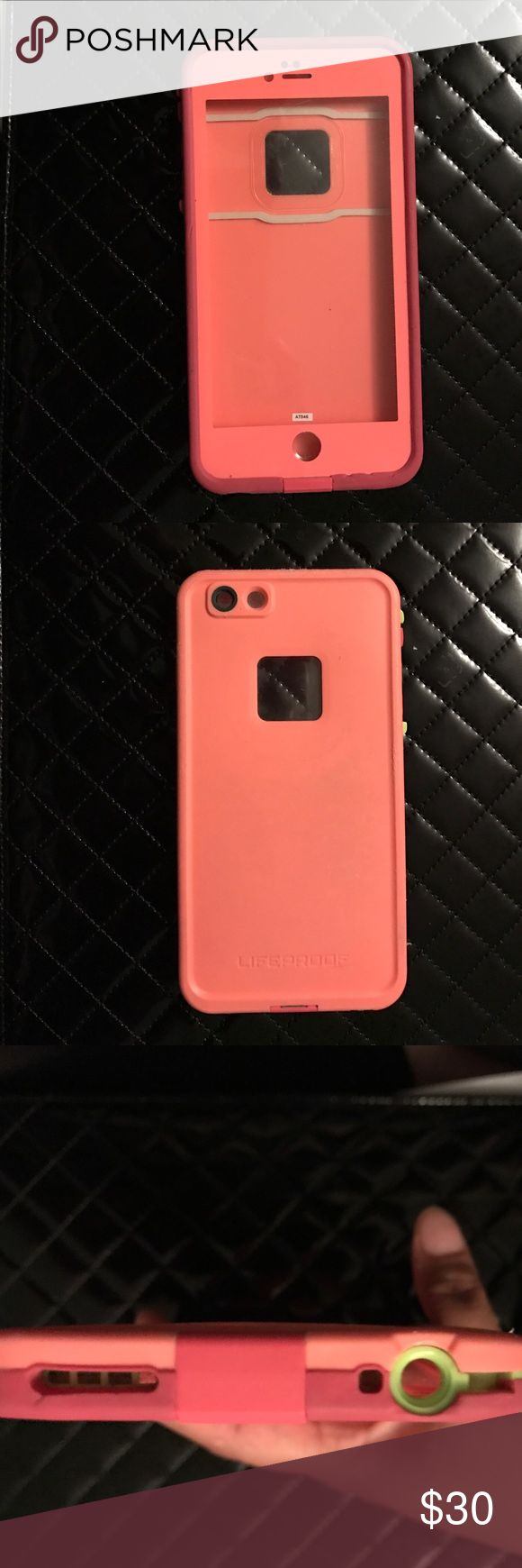 iPhone 6 Plus life proof case Lifeproof case it had been used and is missing the piece to cover the headphone jack..... when I had the phone this is all I ever had on it and it worked amazingly because I would drop my phone I it all the time.... not waterproof due to the missing piece but still very durable LifeProof Accessories Phone Cases