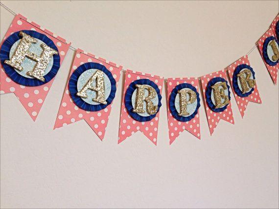Childrens Name Banner Coral Navy Aqua/Mint by LaCremeBoutique