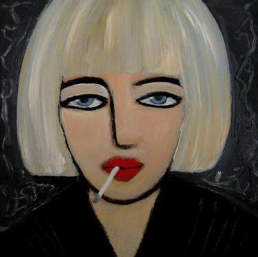 """Saatchi Art Artist Nelly Van Nieuwenhuijzen; Painting, """"My last cigarette..."""" #art"""