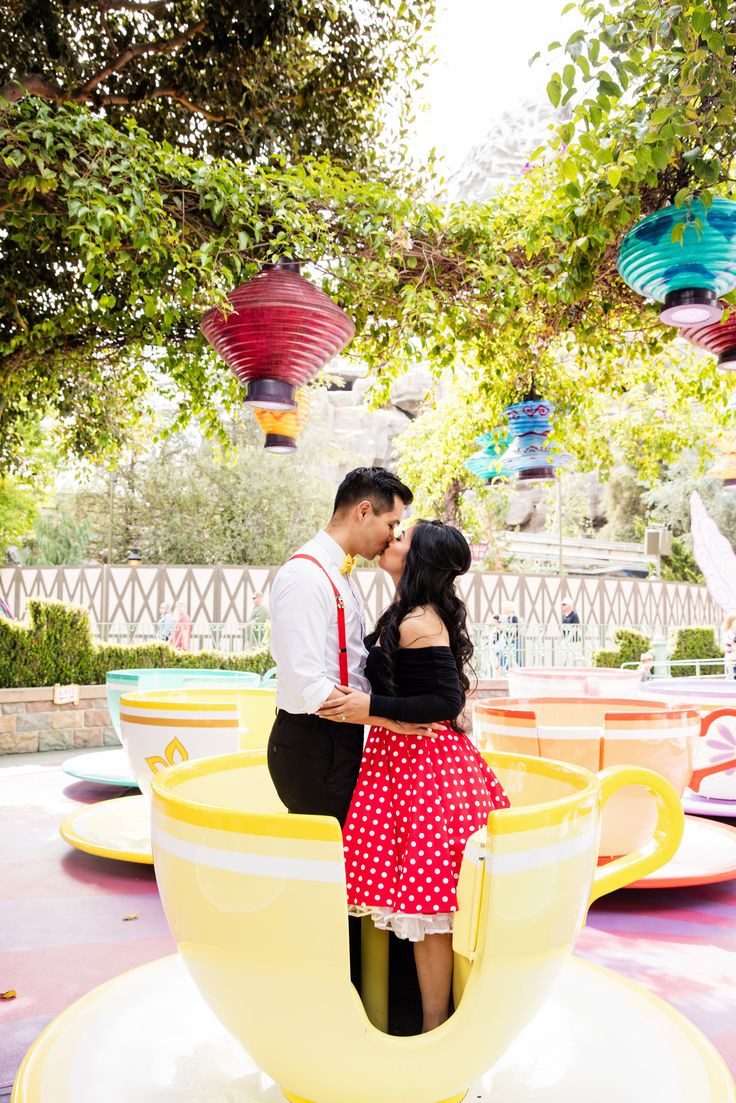 Disney Bounding Engagement photos at the Mad Tea Party.