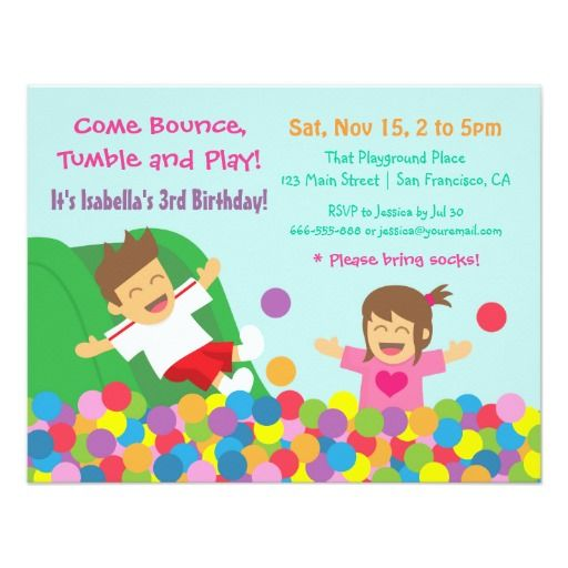 308 best kids birthday party invitations images on pinterest bounce play gym kids birthday party invitations stopboris Image collections