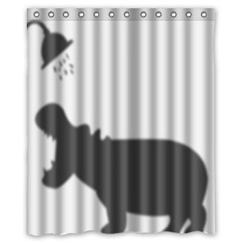 LEGENDT Unique And Generic Hippo Bath Shower Curtain Custom Printed Waterproof Fabric Polyester 66