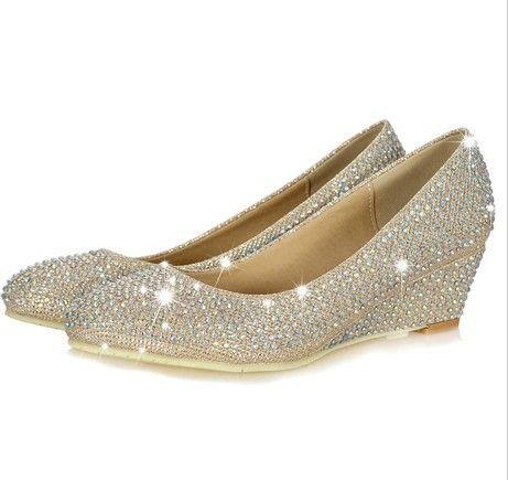 2013 new arrival rhinestone shoes pumps diamond low heel women's wedge wedding shoes US $62.25