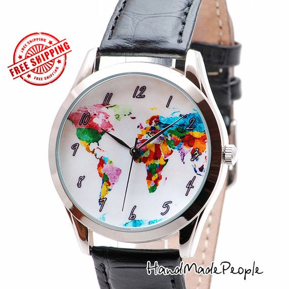 107 best handmadepeople watches images on pinterest female check out map watch watercolor world map unisex watch birthday gifts for best friend gumiabroncs Images