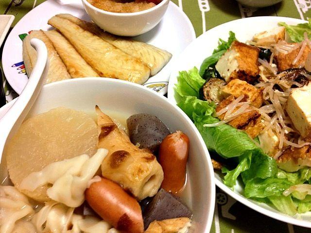 シンプルに、大根おろしに焼き魚。とか。 - 7件のもぐもぐ - さわら&おでん&厚揚げズッキーニとナムルもやしのサラダ by jumin