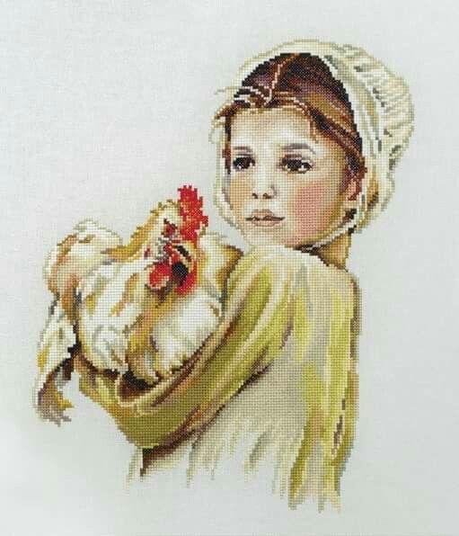 Nina con gallo