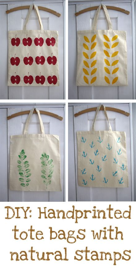 Hand printing with Natural  Stamps- apple, potato, leaves!