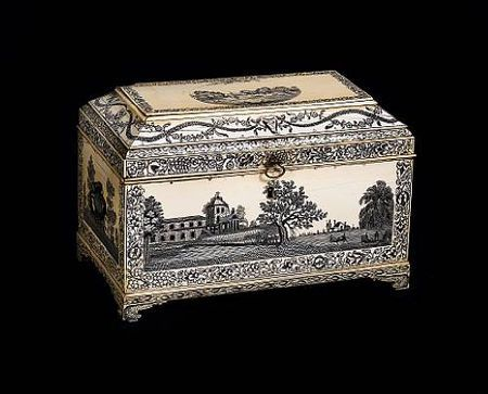 A fine late 18th century Vizagapatam engraved ivory tea caddy(possible pen and ink designl  save the elephants!)