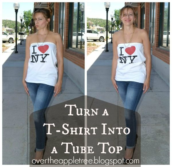 Thrift store t-shirt into summer tube top!