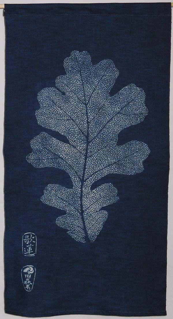 Katazome Indigo  White Oak Leaf   Nautilus Fiberarts                                                                                                                                                     More