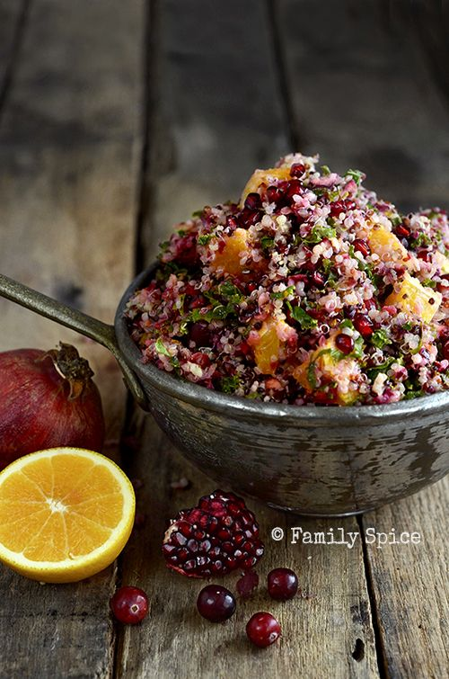 Cranberry Orange Quinoa Salad. A fresh twist on a classic combination of cranberry and orange. Perfect with your Thanksgiving turkey or weeknight roast chicken! Recipe by Laura Bashar of Family Spice #KashiBetterRecipes