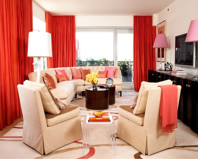Diseño De Salas Color Coral | Ideas Para Decorar, Diseñar Y Mejorar Tu  Casa. Curtains Living RoomsRed ...