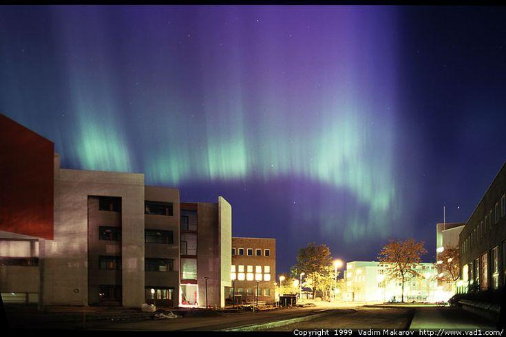 Northern lights over NTNU Gløshaugen. Trondheim, Norway
