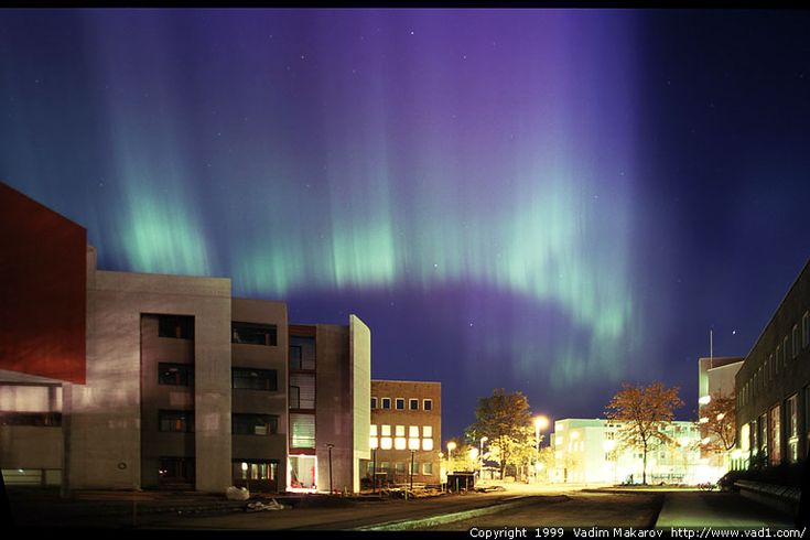 Northern lights over NTNU Gløshaugen. Trondheim, Norway