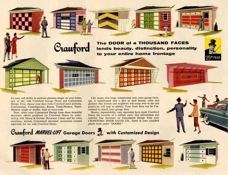 Mid Century Garage doors by Crawford - The door of a thousand faces