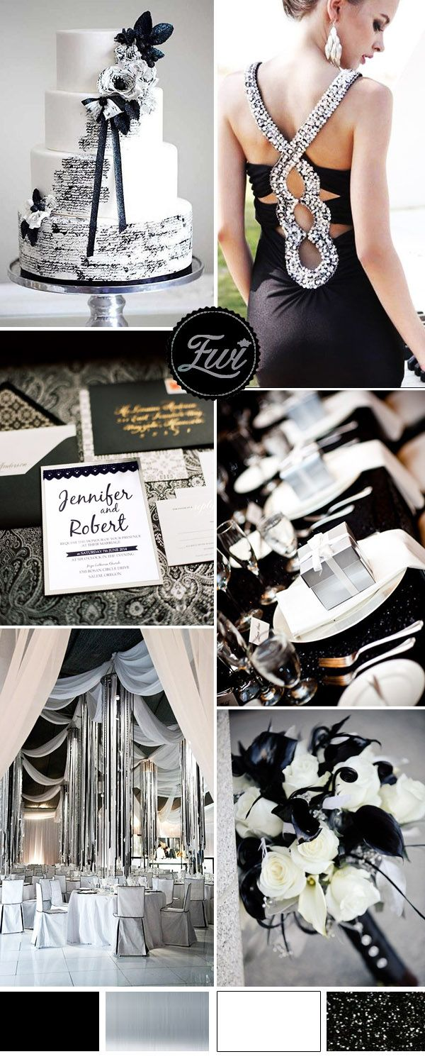 silver and black modern wedding ideas and elegant wedding invitations