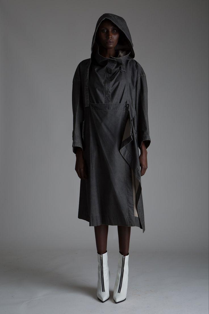 Vintage Issey Miyake Gray Parka. Designer Clothing Dark Minimal Street Style Fashion