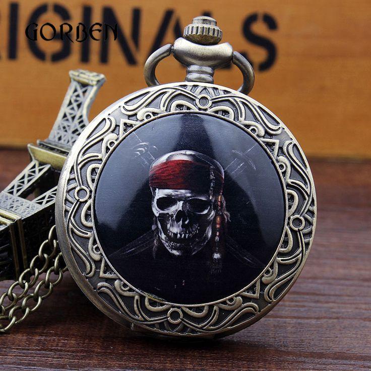 Black Pirate Skull bronze Vintage pocket watch necklace Chain Retro Antique Quartz Watches Mens Relogio De Bolso
