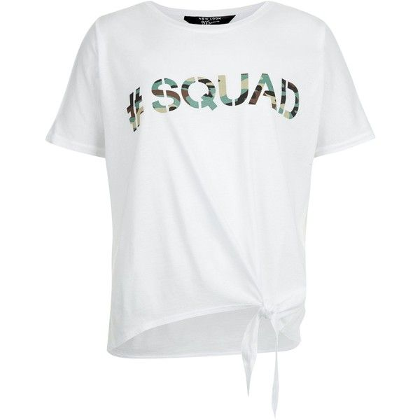 New Look Teens White Camo #Squad Print Tie Front T-Shirt ($13) ❤ liked on Polyvore featuring tops, t-shirts, white, white tee, print tees, camo tee, white top and print t shirts
