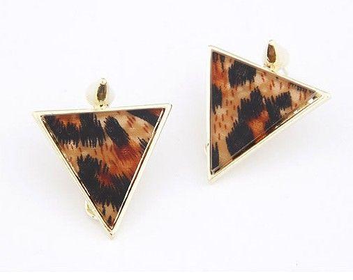 Statement Leopard Triangle Stud Earrings