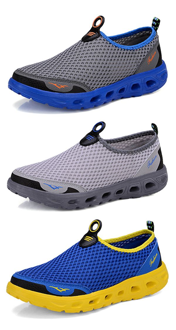 【 2 / US$32.98】US$17.56–Mens Mesh Quick Drying Upstream Shoes /Casual Beach Shoes#casual #beach #shoes