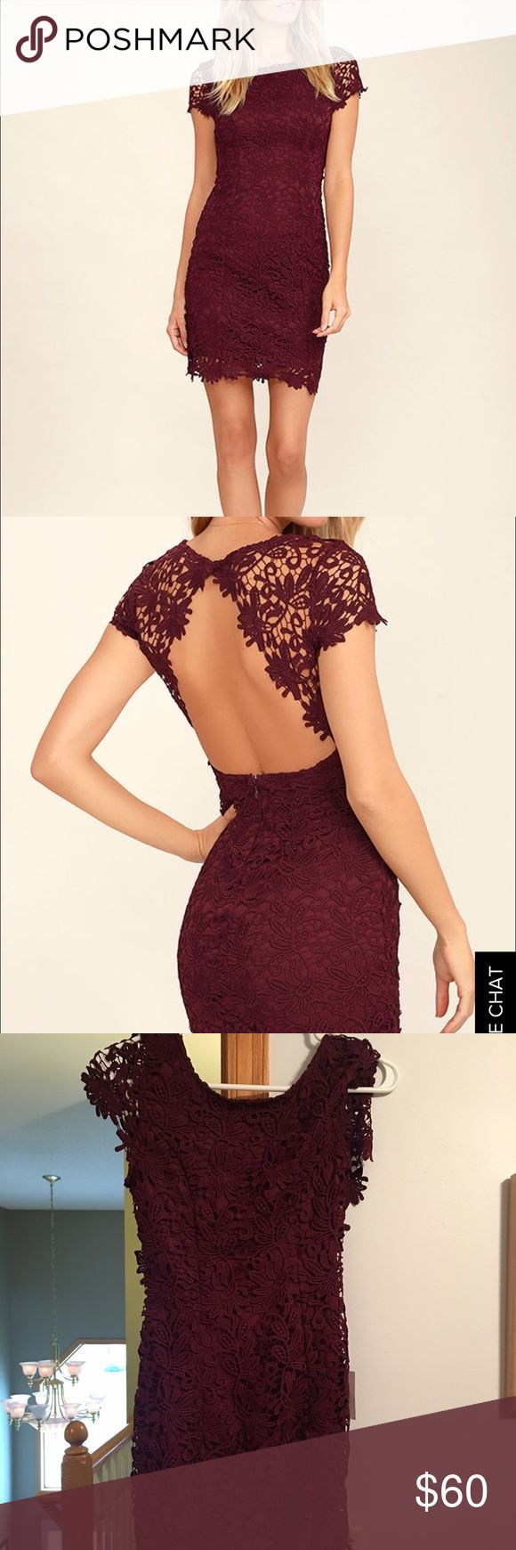 Dress Maroon, NEVER WORN, TAGS STILL ON. tight fitting lace dress Dresses Backless