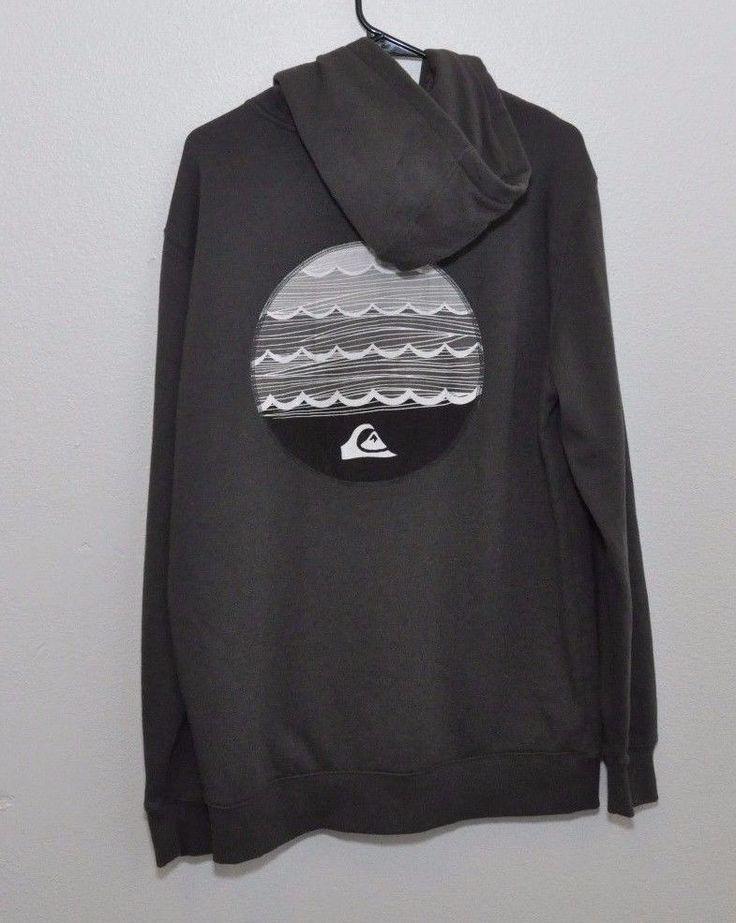 Men's XL Quiksilver Full Zip Front Gray Surf Snowboard Hoodie Graphic Logo #Quiksilver #Hoodie