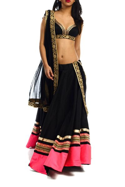 Black Rawsilk Lehenga with Neon Pink Embroidery