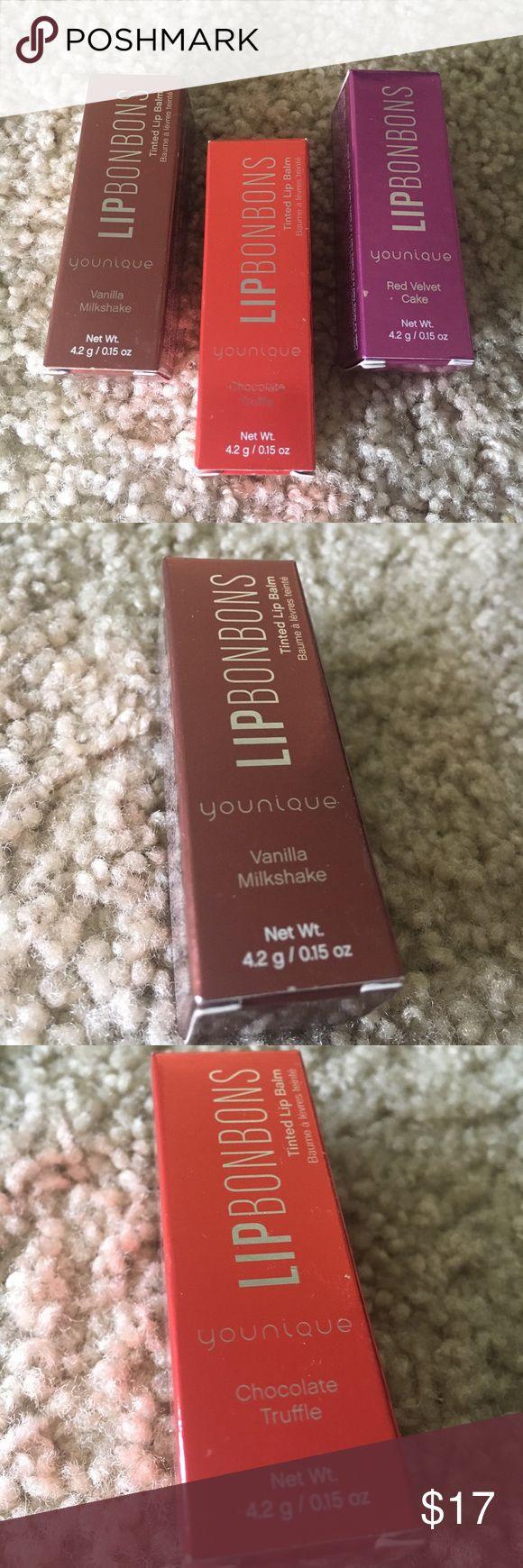 NWOT Lip Bon Bons 👄 3 Younique Lip Bonbon lip balms. 1 Vanilla Milkshake, 1 Chocolate Truffle & 1 Red Velvet Cake. Opened once, never used! Originally $22 each, selling for $17 each OR $35 as a set! 😘 Younique Makeup Lip Balm & Gloss